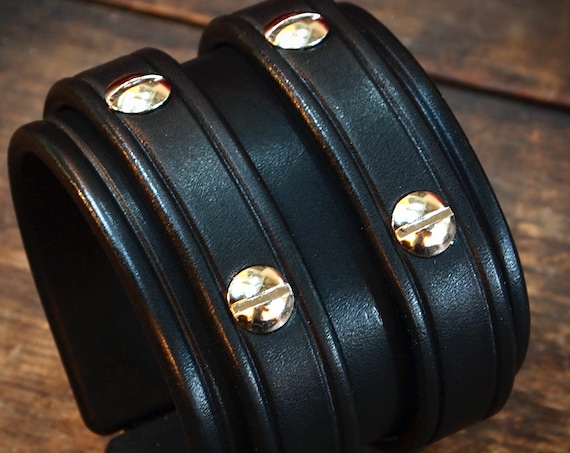 Black studded Leather cuff Bracelet : Luxurious Bridle leather Double strap wristband. Made in USA Using Refined techniques!