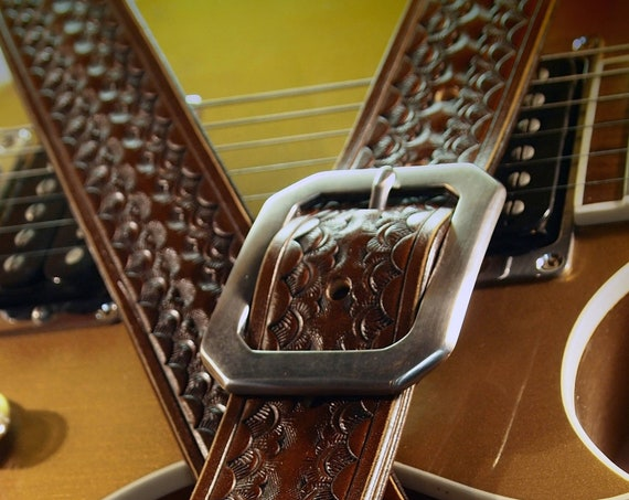 Brown Leather Guitar Strap : Hand Tooled and stamped by hand. Competely Handmade for YOU in New York!