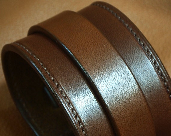 Brown Leather wristband : Handstitched Luxury cuff bracelet custom made for YOU in New York!
