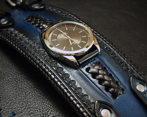 Black and Blue Leather cuff watch: Fully laced special // Wide, Slick vintage style! Unique and fine craftsmanship! Limited Edition