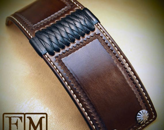 Brown Leather cuff Bracelet American Western Saddle wristband Handstitched Braided Stamped Handcrafted for YOU in USA by Freddie Matara!