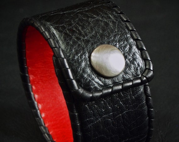 Black Leather cuff bracelet : Red soft leather lining and Black cowhide. Hand Laced, made in New York!