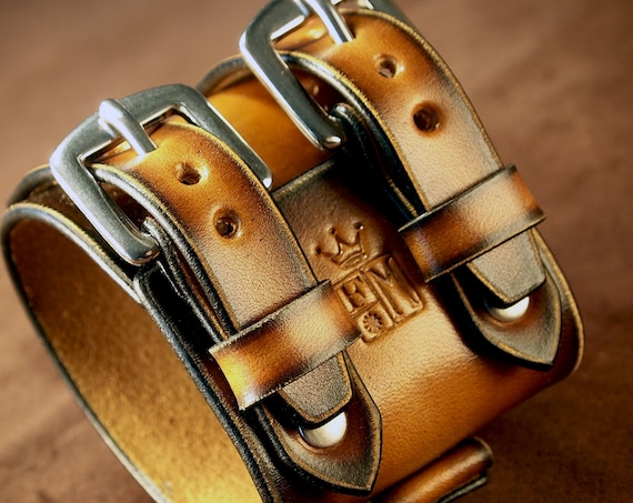 Sunburst Leather Cuff Bracelet : 70's style vintage style cuff. Custom watchband, Best quality Made in USA