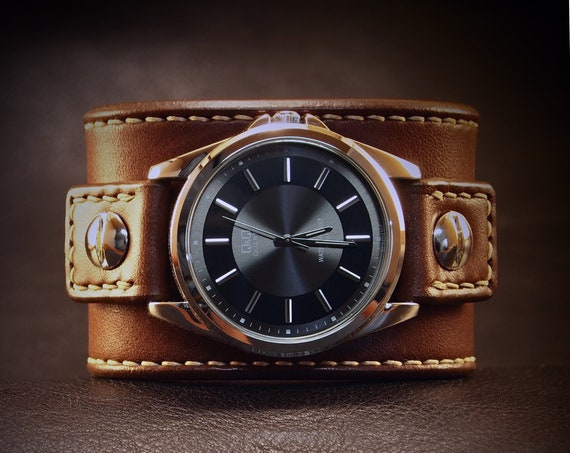 Brown Leather cuff Watch : Vintage style American Chocolate bridle leather watchband. Hand stitched and hand crafted in New York!