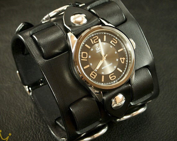 Black Leather cuff watch: Elvis 68 comeback special! Wide, Slick vintage style!