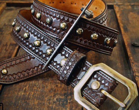 Brown Leather studded Belt:  Hand Tooled Vintage style Modern western. Custom made in NewYork!