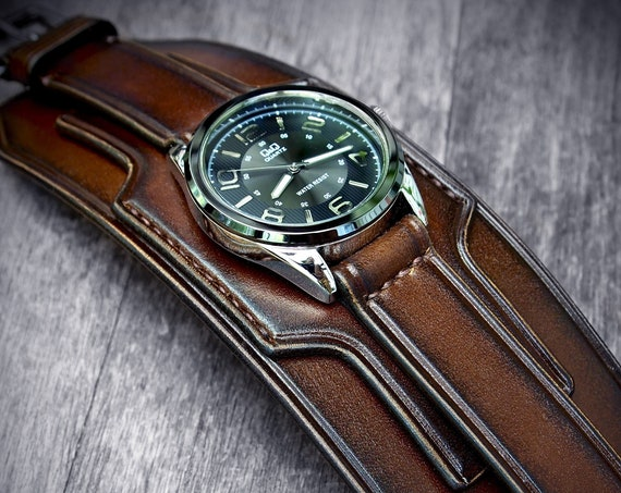 Brown Leather cuff watch : Fine craftsmanship / Burnt Walnut, wide & layered with hand stitched details!