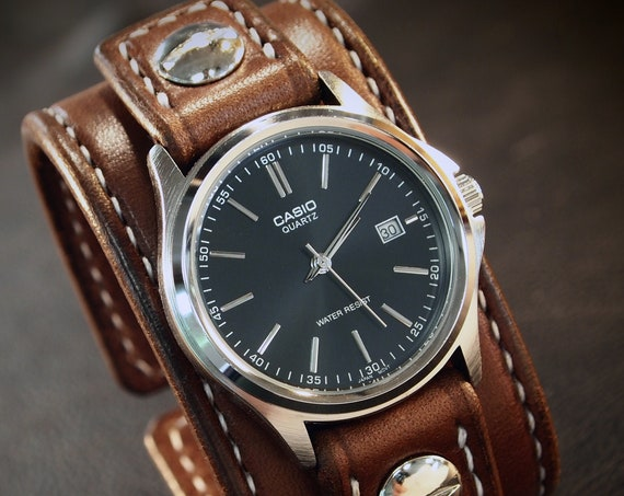 Brown Leather cuff Watch : American bridle leather handstitched white thread watch band with Casio watch. Made in NY