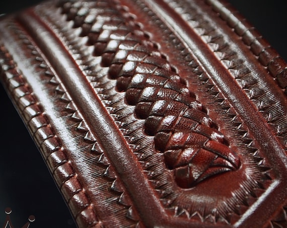 Leather cuff wristband :  Native Western style bracelet.  Hand tooled with kangaroo lace and Buffalo nickels! Handmade in New York