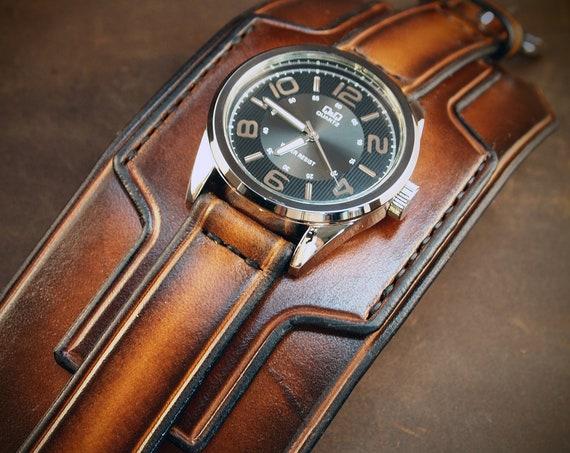 Brown Leather cuff watch : Tobacco sunburst Super wide layered watch band.  Handmade in USA
