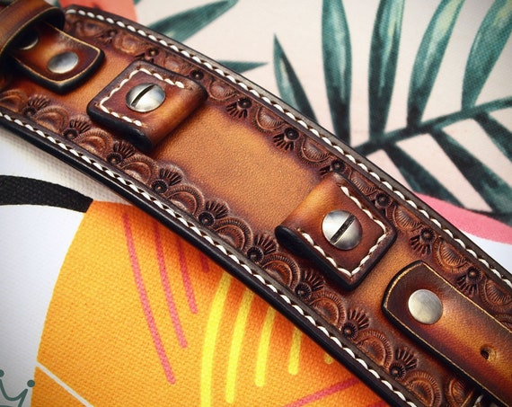 Leather cuff Watchband: Brown Vintage sunburst Hand tooled and Handstitched watch band!