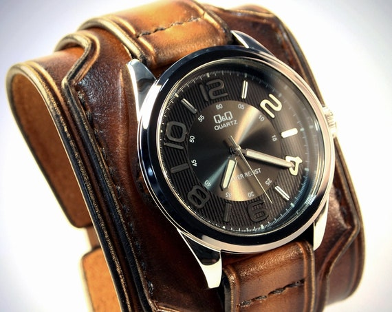 Brown Leather cuff watch :  Tobacco fade wide layered Brown watch band cuff Bracelet.  Handmade for YOU in USA!