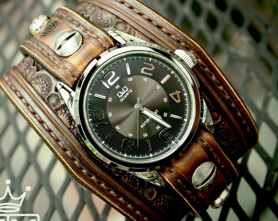 Brown Tooled Leather cuff Watch : Vintage western tooled and stamped COWBOY watchband - Finely crafted- Made for YOU in New York!