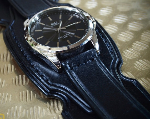 Black Leather cuff watch : Layered Black watch band Bracelet. Unique stacked and curved Design!