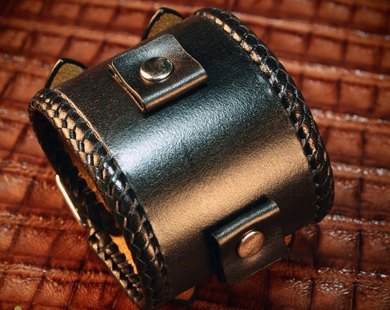 Leather bracelet Black wristband cuff Vintage braided lace style watchband cuff Best quality Made for YOU in USA by Freddie Matara