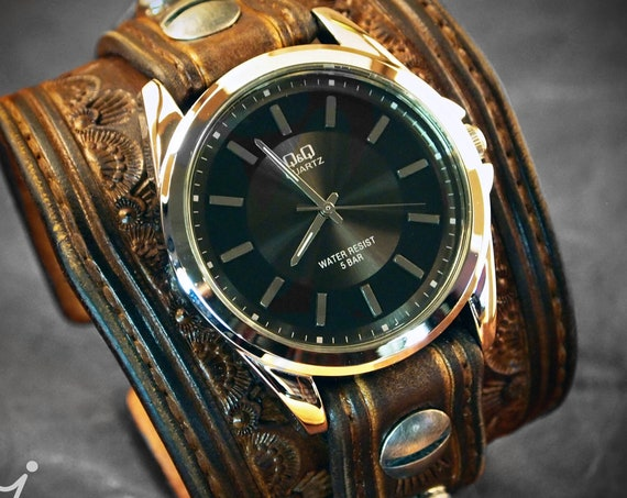 Brown Leather cuff Watch : Vintage western tooled and stamped COWBOY watchband - Finely crafted- Made for YOU in New York!