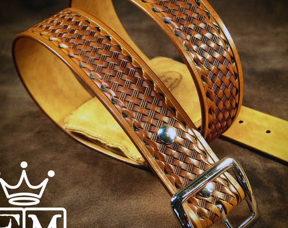 "Tan leather belt Tooled basket weave with waved border Polished nickel buckle 1-3/4"" wide handmade for YOU in USA by Freddie Matara"