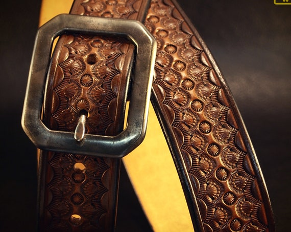 """Brown Leather Belt : 1.5"""" Custom vintage finish. Hand Tooled and made just for YOU in New York!"""
