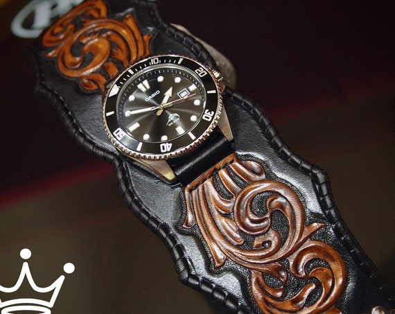 Mens Leather Cuff Watch : Black Traditional Scrollwork with Casio Diver- Rockstar Quality Bracelet made for YOU in NY by Freddie Matara