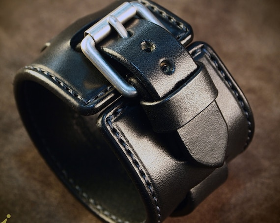 Black Leather cuff Bracelet : Handstitched custom Luxury Handmade for YOU in New York by Freddie Matara