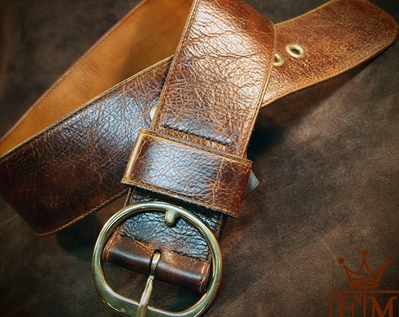 Ladies Wide distressed leather belt : Hip belt Boho Bohemian luxury womens belt. Made for You in New York