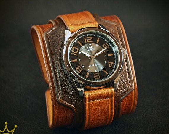 Brown distressed Leather cuffwatch : Vintage 2 tone style. Wide and Layered Custom! Made in USA by Freddie Matara