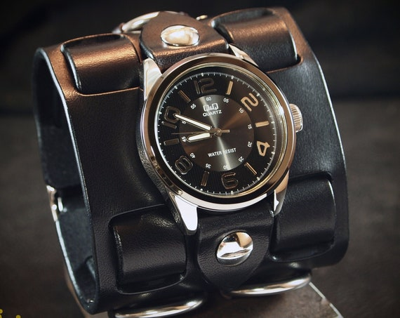 Black Leather cuff watch: Elvis Presley 68 comeback special! Wide, Slick vintage style with Racer face!