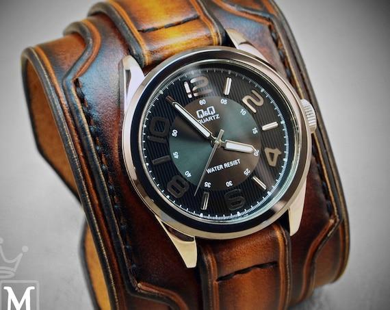 Brown Leather cuff watch : Fine craftsmanship / Burnt sunburst, wide & layered with hand stitched details!