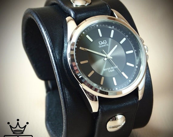 Black Leather cuff Watch : Vintage style bridle leather, Classic cuff style!