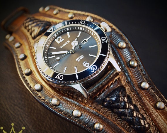 Brown Leather cuff watch : TIMEX Diver, Studded, handstitched, laced and lined watch band Bracelet,Sleek and Sexy style! Great Gift