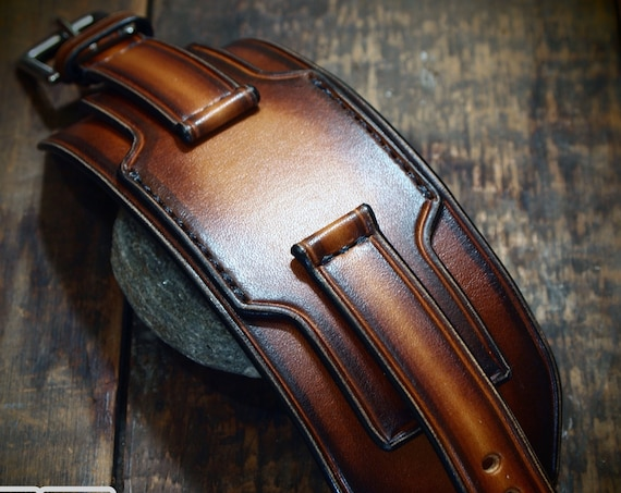 Brown Leather watchband : 20mm 22mm 24mm Vintage layered cuff style with sunburst finish. Custom Made for your watch and wrist!