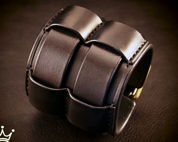 Black Leather cuff Bracelet :Wide Rocker Armband Brass or silver harware! Custom made for You in New York