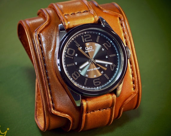 Brown Leather cuff watch : Rich Tan tones leather watchband. Hand Made In New York