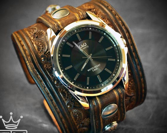 Brown Leather cuff Watch : Vintage tooled western, stamped watch band - Made for YOU in New York by Freddie Matara