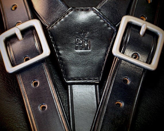 Black Leather suspenders : Hand built for YOU in New York  by Freddie Matara. Fine craftsmanship!