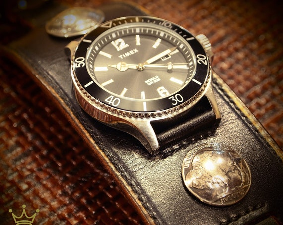 Black Leather cuff watch : TIMEX Diver, Genuine buffalo nickels;handstitched and lined watch band Bracelet,Sleek and Sexy style! Great Gift