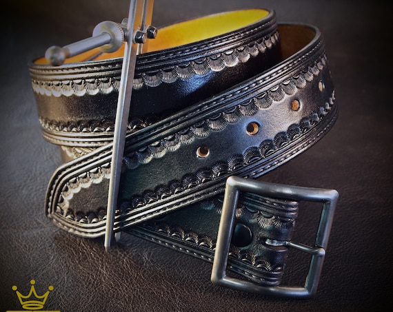 Black leather belt : Hand Tooled Western border with Distressed buckle. Gun leather/ Cowboy style. Made in New York
