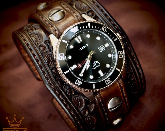 Brown Tooled Leather cuff Watch : Vintage western tooled and stamped COWBOY watchband- Casio Diver-Finely crafted- Made for YOU in New York!