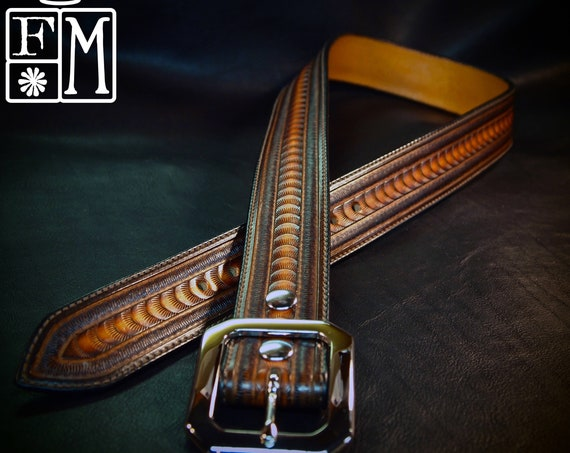 Sunburst Leather belt :  Brown stamped and tooled Rich sunburst finish! Hand Made for you in New York