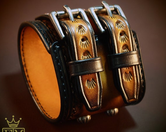 Brown Western Leather cuff : Vintage Cowboy style, western stamped Sunburst wristband Fine quality! Made for YOU in USA by Freddie Matara