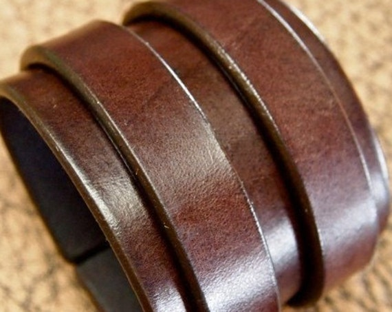 "2.5"" wide Double strap Rich brown bridle Leather cuff"
