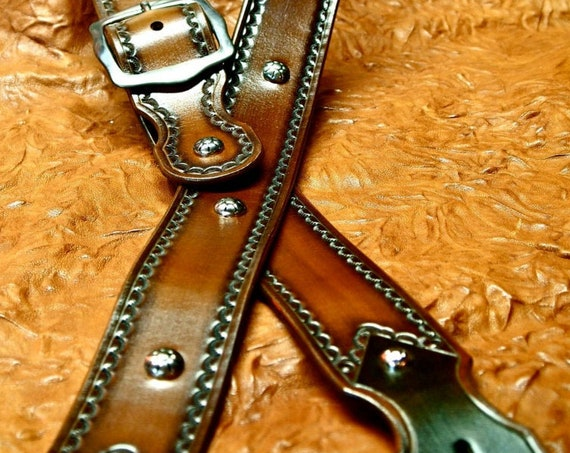Leather Guitar strap Brown westernCowboy style Top Quality hand made for You in Williamsburg Brooklyn by Freddie Matara!