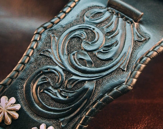Black Leather Cuff Watchband : Apple watch Traditional American scrollwork ROCKSTAR Bracelet. Made for you in USA!