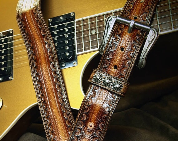 Brown Leather Guitar Strap : Tobacco Sunburst Soft and suede lined Cowboy Rockstar Vintage Style. Handmade in USA by Freddie Matara!
