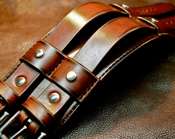 Brown Leather cuff Bracelet : Wide double buckle studded wristband. Custom made for you!