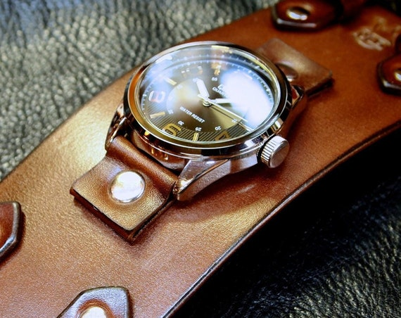 Brown Leather cuff watch : Vintage style leather cuff watchband. Best handmade quality. Made in New York!