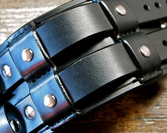 Black Leather cuff Bracelet :Wide Rocker Armband Custom made for You in New York
