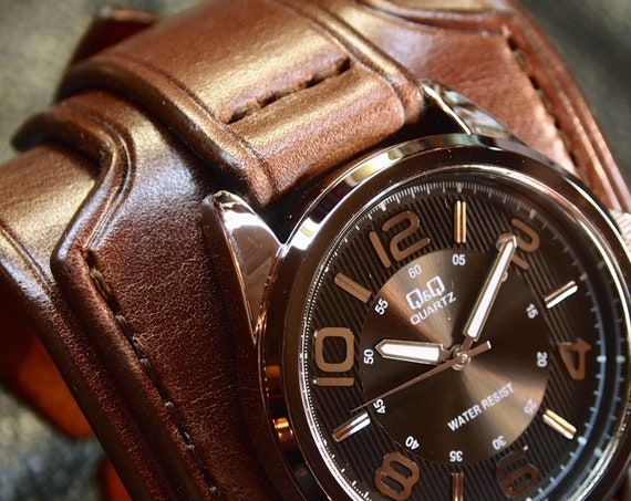 Brown Leather cuff watch : Vintage style wide and layered. Fine craftsmanship, Made in New York USA