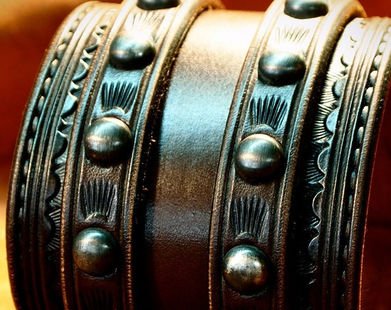 Brown Leather Wrist Cuff : Traditional American COWBOY Rockstar style Bracelet! Made in NY