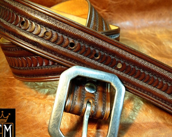 Brown Leather belt : Hand tooled and stamped with a Rich Walnut finish! Custom sized for You!